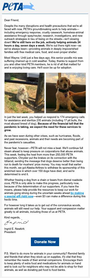 PETA fundraising appeal pandemic response